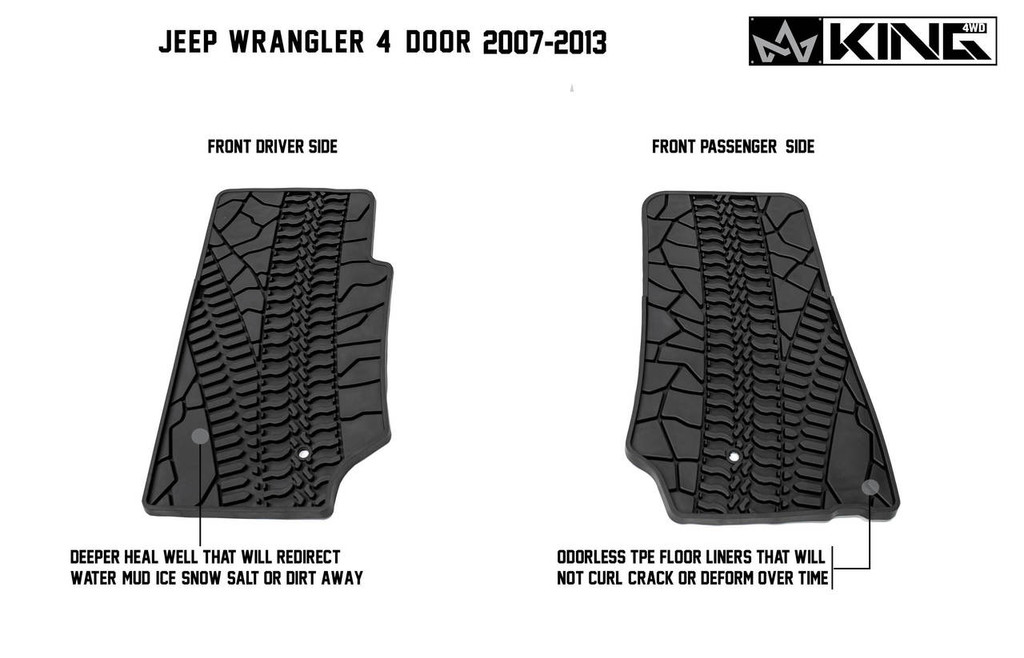 28010301 King 4WD Premium Four-Season Floor Liners Front and Rear Passenger Area Jeep Wrangler Unlimited JK 4 Door 2007-2013.  Front driver side and front passenger side. Deeper heal well that will redirect water, mud, snow, salt, or dirt away. Odorless TPE floor liners that will not curl, crack, or deform over time.