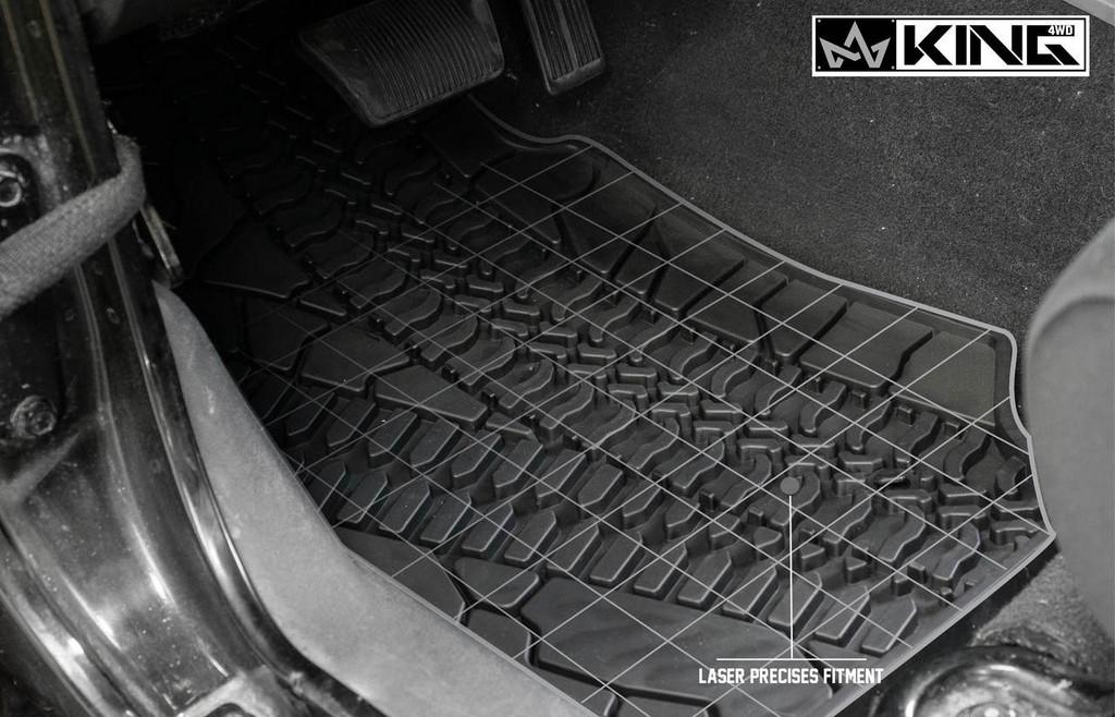 28010301 King 4WD Premium Four-Season Floor Liners Front and Rear Passenger Area Jeep Wrangler Unlimited JK 4 Door 2007-2013. Laser precise fitment.