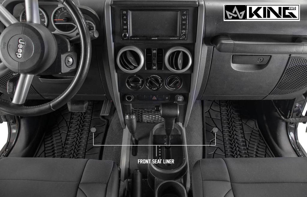 28010301 King 4WD Premium Four-Season Floor Liners Front and Rear Passenger Area Jeep Wrangler Unlimited JK 4 Door 2007-2013. Front seat liners.