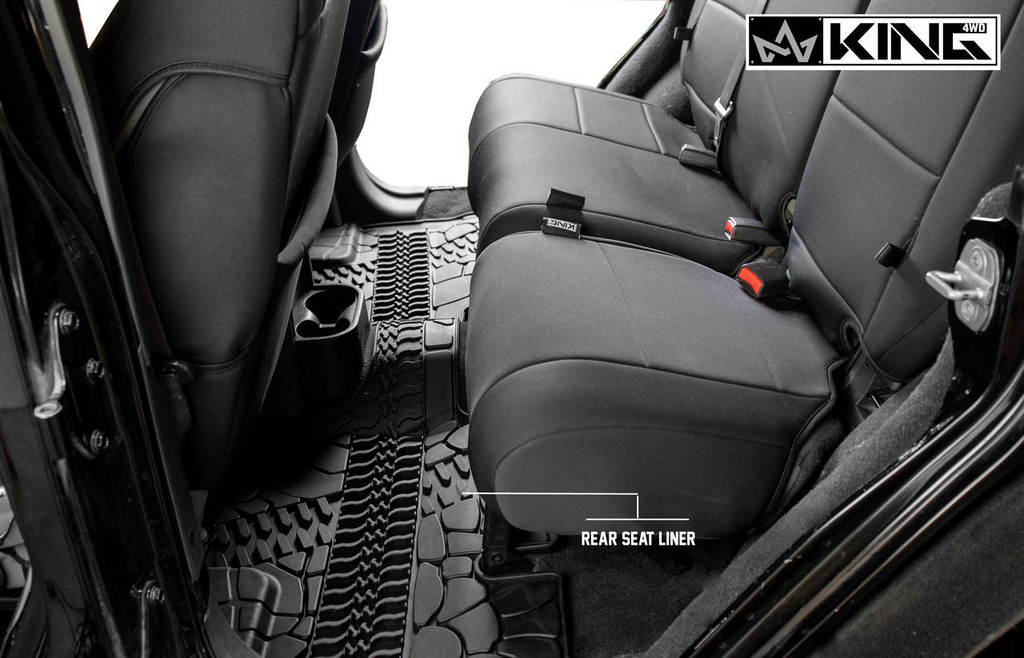 28010301 King 4WD Premium Four-Season Floor Liners Front and Rear Passenger Area Jeep Wrangler Unlimited JK 4 Door 2007-2013. Rear seat liner.