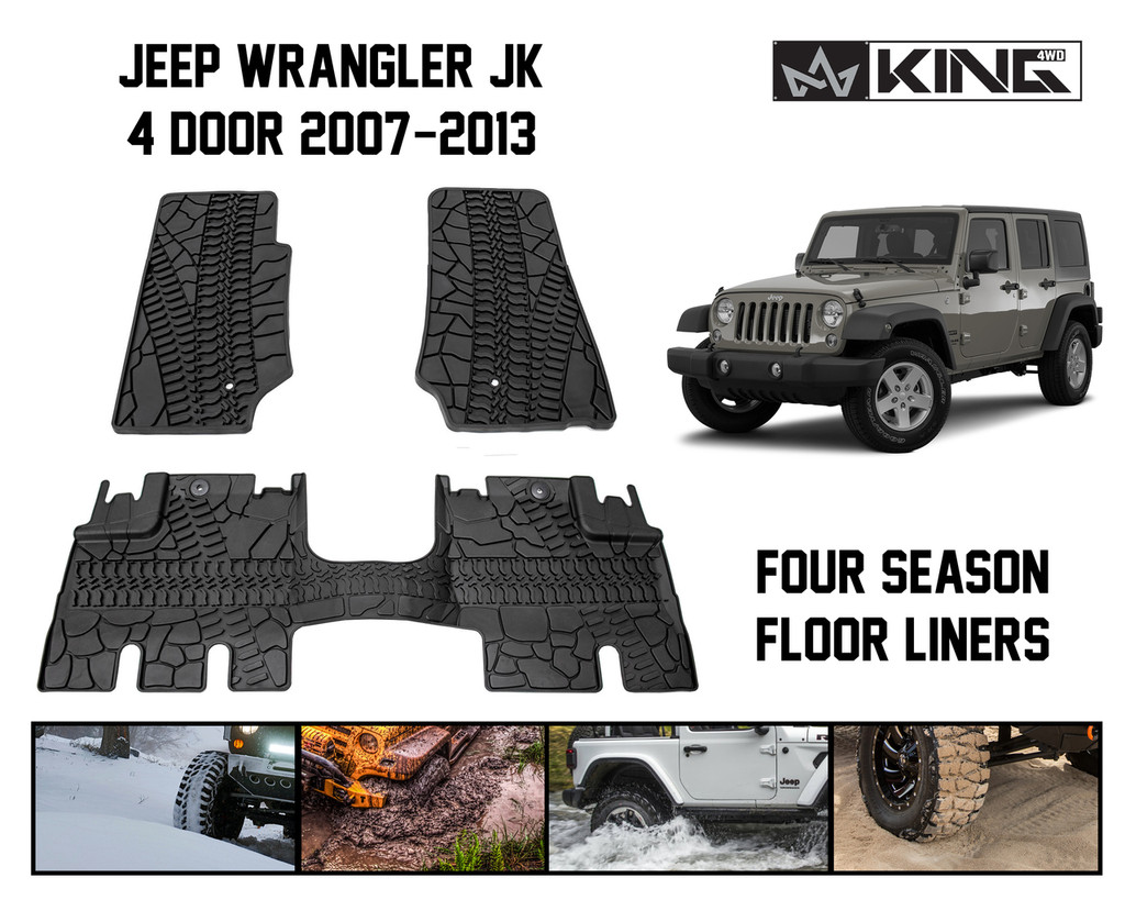 28010301 King 4WD Premium Four-Season Floor Liners Front and Rear Passenger Area Jeep Wrangler Unlimited JK 4 Door 2007-2013.