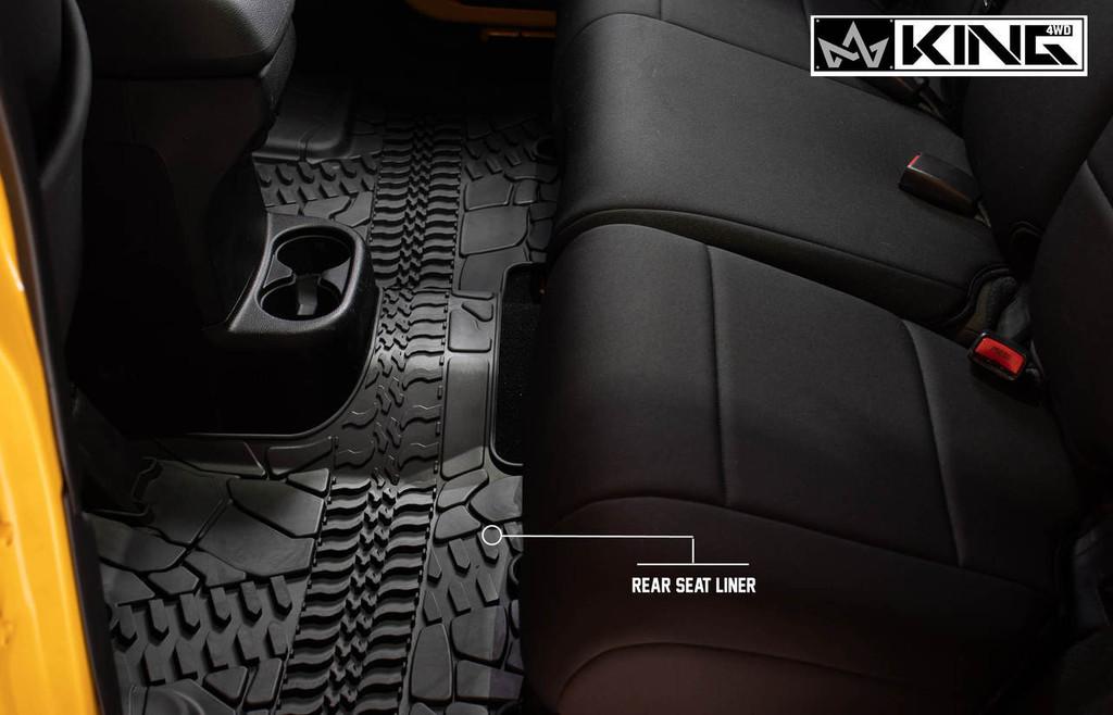 28010501 King 4WD Premium Four-Season Floor Liners Front and Rear Passenger Area Jeep Wrangler Unlimited JKU 4 Door 2014-2018. Rear seat liner.