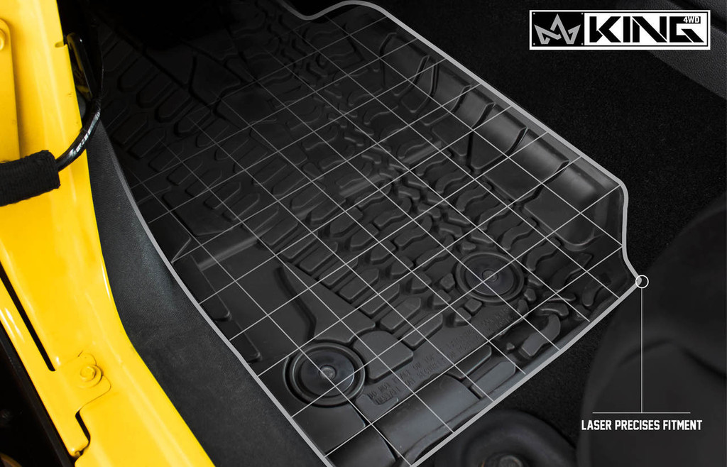 28010501 King 4WD Premium Four-Season Floor Liners Front and Rear Passenger Area Jeep Wrangler Unlimited JKU 4 Door 2014-2018. Laser precise fitment.