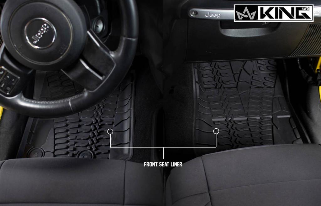 28010501 King 4WD Premium Four-Season Floor Liners Front and Rear Passenger Area Jeep Wrangler Unlimited JKU 4 Door 2014-2018. Front seat liner.
