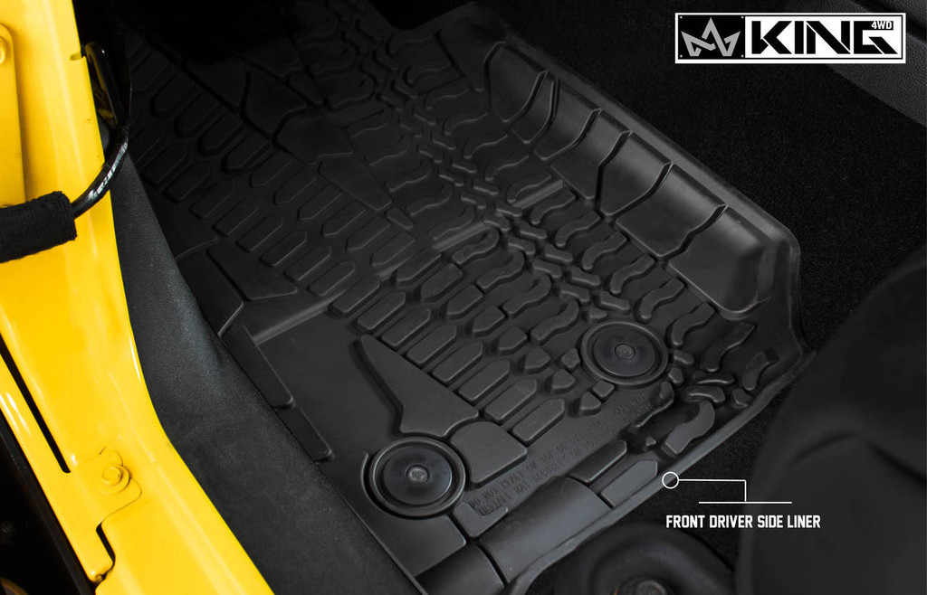 28010501 King 4WD Premium Four-Season Floor Liners Front and Rear Passenger Area Jeep Wrangler Unlimited JKU 4 Door 2014-2018. Front driver side liner.