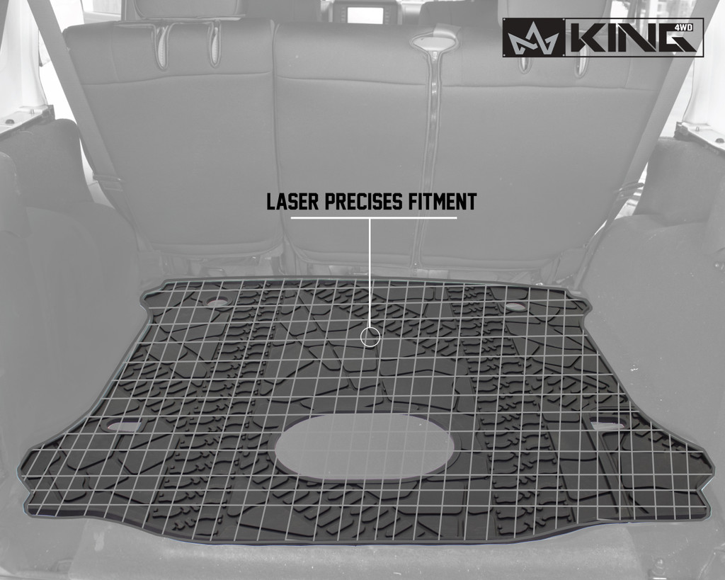 28020301 King 4WD Premium Four-Season Cargo Liner With Sub Woofer Cut Out Jeep Wrangler Unlimited JK 4 Door 2014-2018. Laser precise fitment.