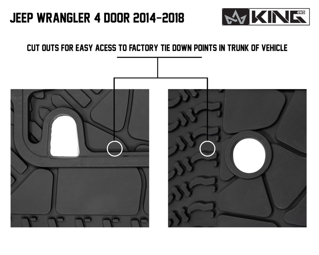 28020501 King 4WD Premium Four-Season Cargo Liner Jeep Wrangler Unlimited JK 4 Door 2014-2018. Cut outs for easy access to factory tie down points in trunk of vehicle.
