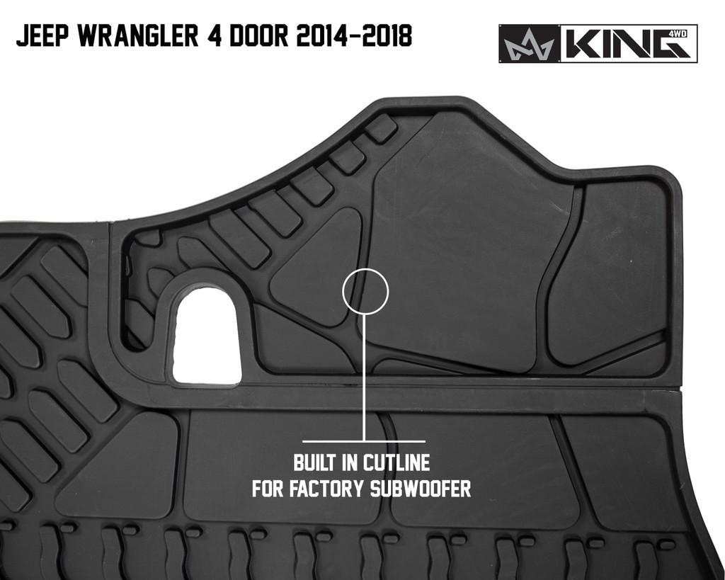 28020501 King 4WD Premium Four-Season Cargo Liner Jeep Wrangler Unlimited JK 4 Door 2014-2018. Built in cut line for factory subwoofer.