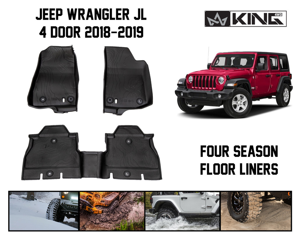 28010701 King 4wd Premium Four Season Floor Liners Front And Rear Passenger Area Jeep Wrangler Unlimited Jl 4 Door 2018 2019 Overland Vehicle Systems