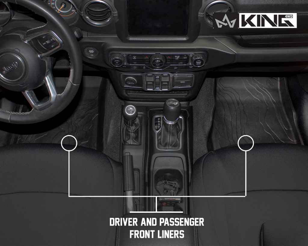 28010701 King 4WD Premium Four-Season Floor Liners Front and Rear Passenger Area Jeep Wrangler Unlimited JL 4 Door 2018-2019. Driver and passenger front liners.