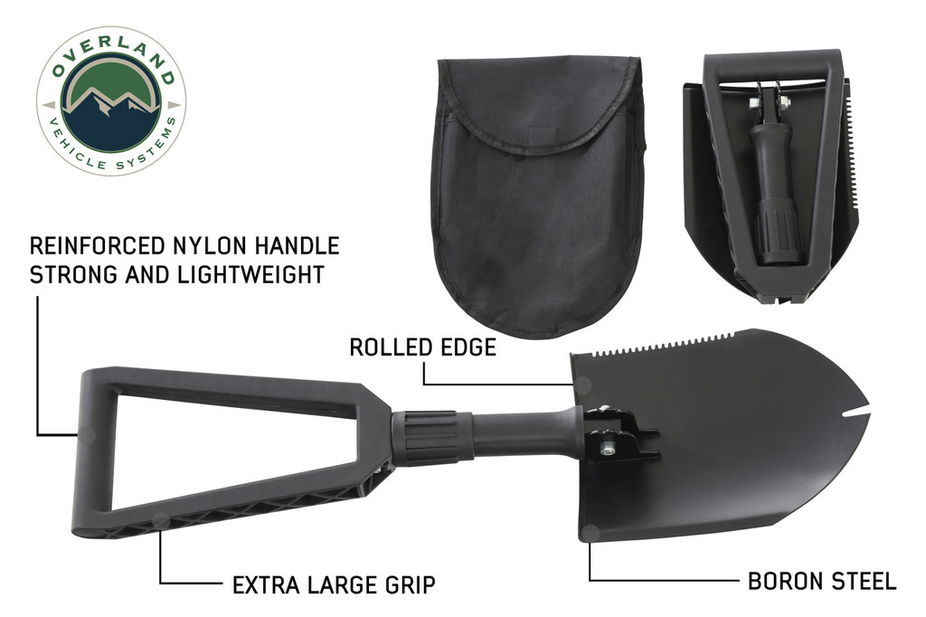 19049901 Overland Vehicle Systems Multi Functional Military Style Utility Shovel with Nylon Carrying Case is manufactured with a glass filled nylon reinforced handle with locking collar that offers exceptional grip.  The Serrated Edge is designed for abuse and can be used for sawing or whacking brush.