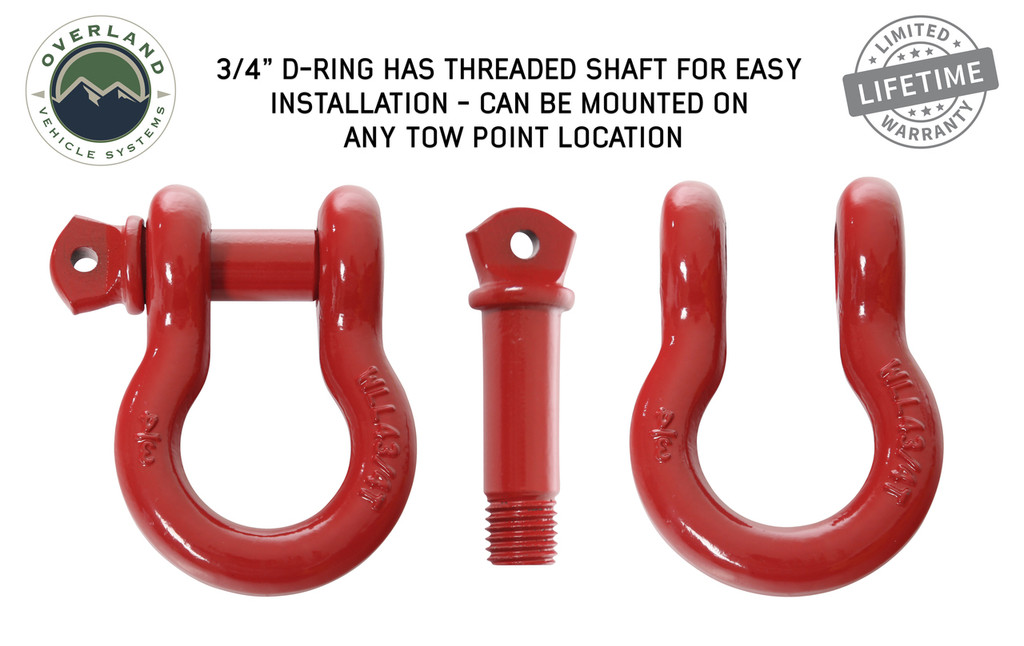 """Recovery Shackle 3/4"""" 4.75 Ton Red - Sold In Pairs (19010204) D-Ring has Threaded Shaft for Easy Installation - Can be mounted on any tow location."""