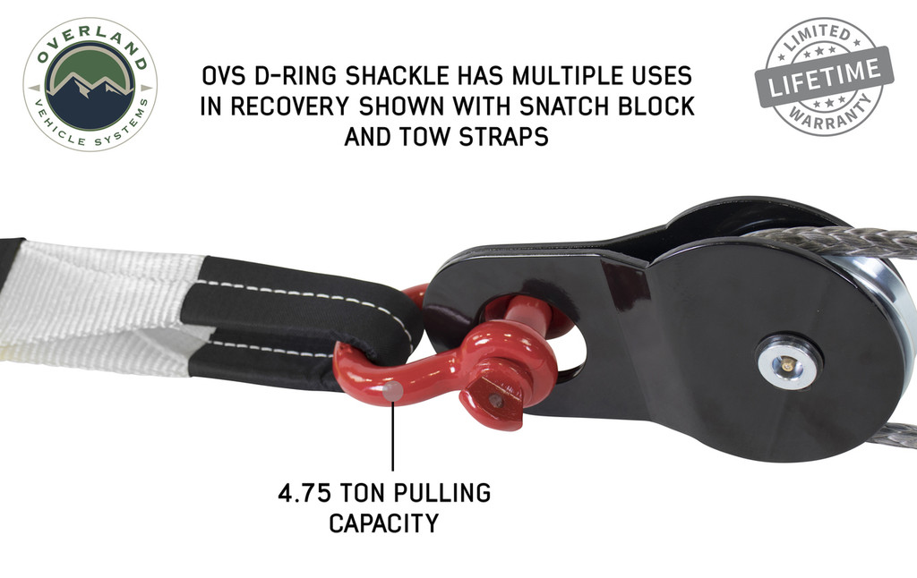 """Recovery Shackle 3/4"""" 4.75 Ton Red - Sold In Pairs (19010204) Shackle D-Ring in Use on Snatch Block, OVS D-Ring Shackle Has Multiple Uses In Recovery Shown with Snatch Block And Tow Straps. 4.75 Ton pulling capacity."""