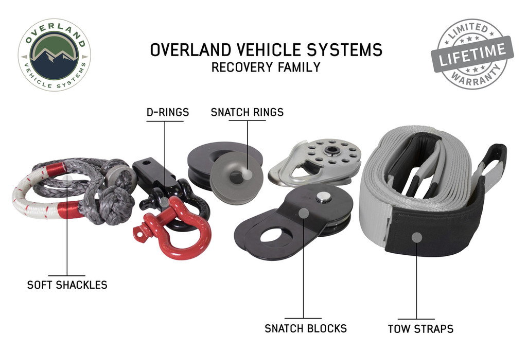 "19010201 Recovery Shackle 3/4"" 4.75 Ton Black - Sold In Pairs. Overland Vehicle Systems Recovery Family.  Soft Shackles, D-Ring, Snatch Rings, Snatch Blocks, Tow Straps."