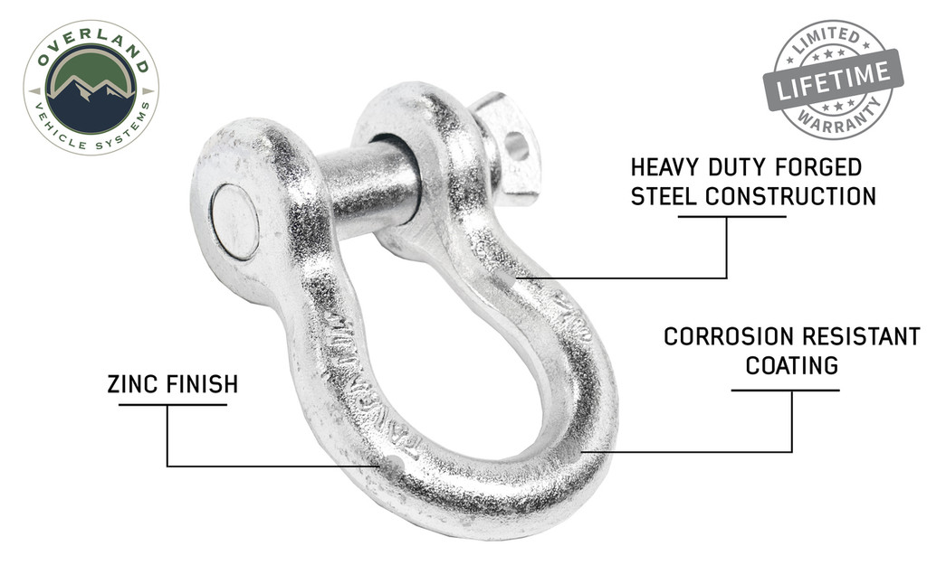 "19019905 Recovery Shackle 3/4"" 4.75 Ton Zinc. Heavy Duty Forged Steel Construction. Corrosion Resistant Coating. Zinc Coat"