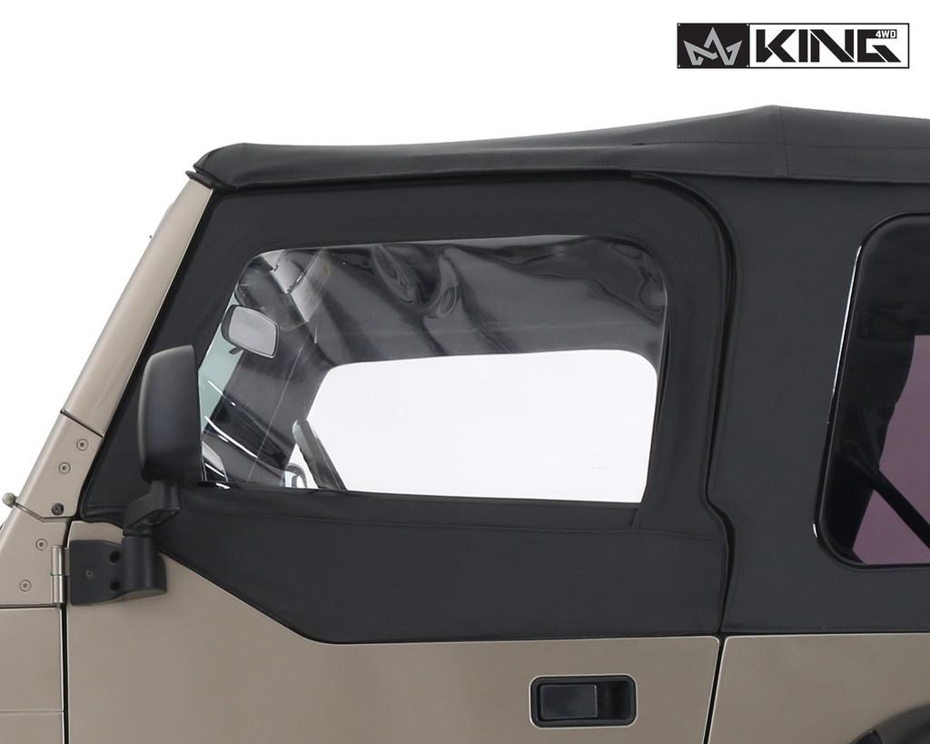 14019935 King 4WD Premium Upper Door Skins Black Diamond Passenger & Driver Side Jeep Wrangler TJ 1997-2006. Driver View of Windows on Jeep.