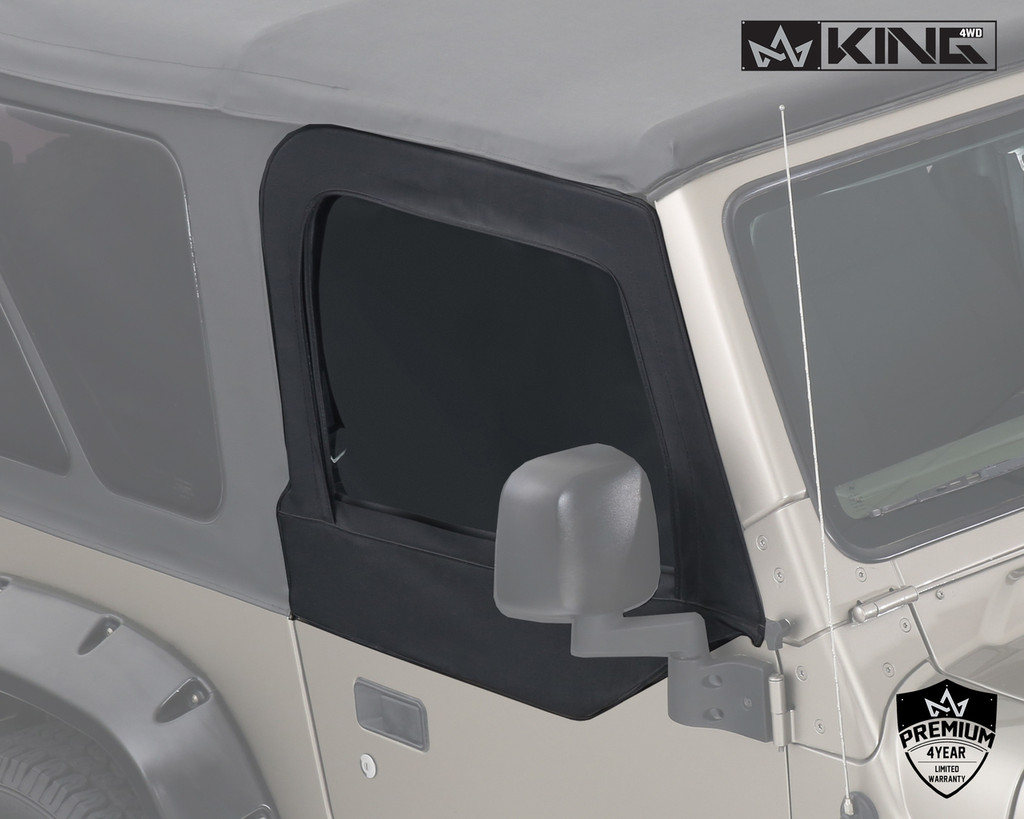 14019935 King 4WD Premium Upper Door Skins Black Diamond Passenger & Driver Side Jeep Wrangler TJ 1997-2006. Passenger View of Window on Jeep.