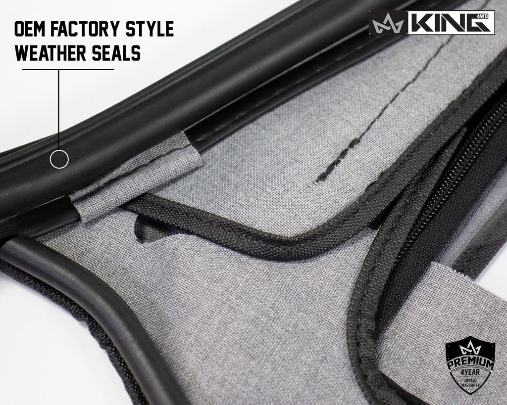 14019935 King 4WD Premium Upper Door Skins Black Diamond Passenger & Driver Side Jeep Wrangler TJ 1997-2006. Close up On Window Seals, OEM Factory Style Window Seals.