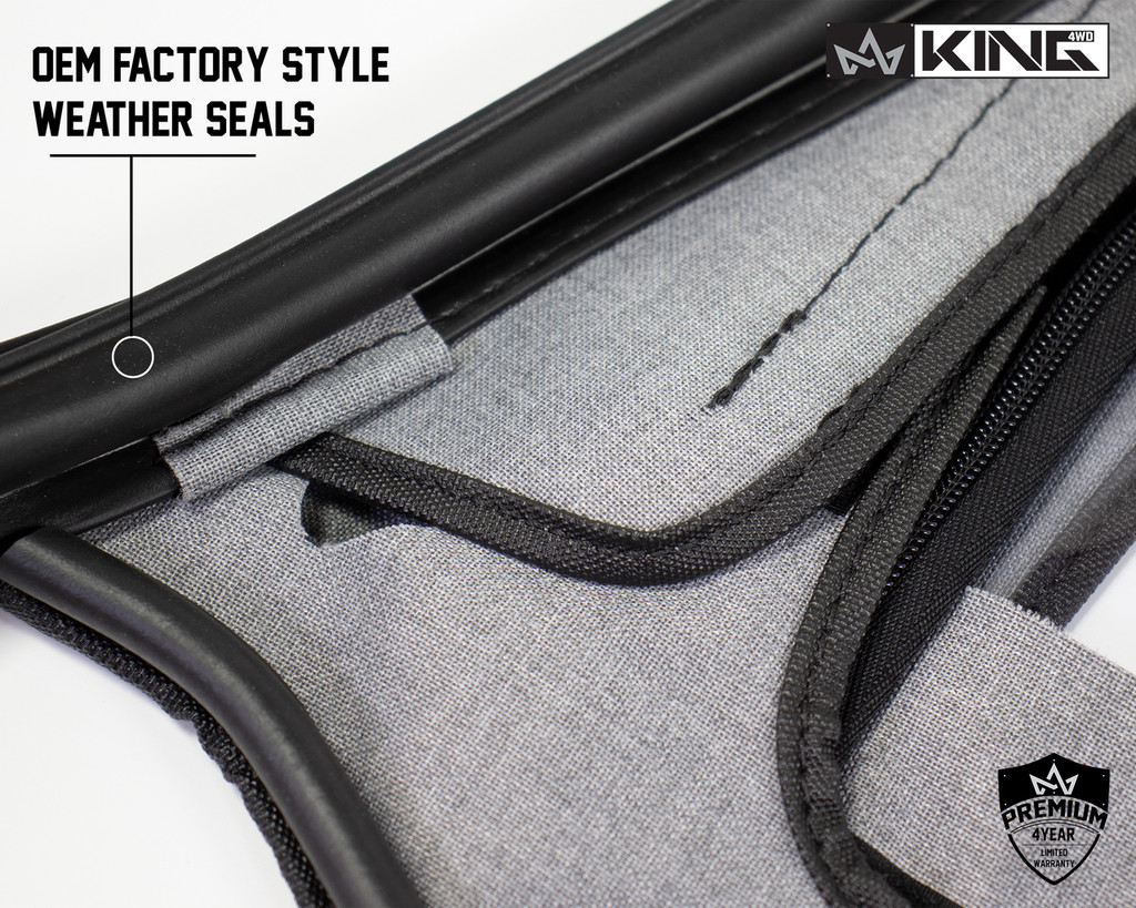 14019935 King 4WD Premium Upper Door Skins Black Diamond Passenger & Driver Side Jeep Wrangler TJ 1997-2006. Close up On Window Seals, OEM Factory Style Window Seals.