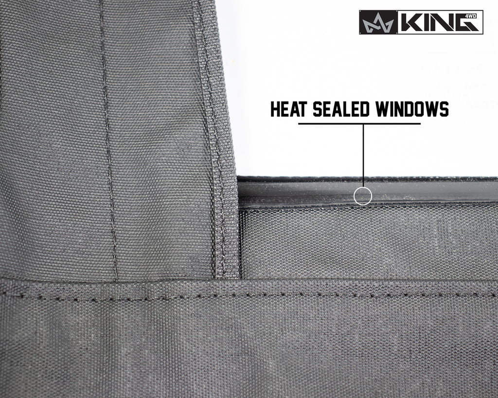 14019935 King 4WD Premium Upper Door Skins Black Diamond Passenger & Driver Side Jeep Wrangler TJ 1997-2006. View of Window Seals, Heat Sealed Windows.