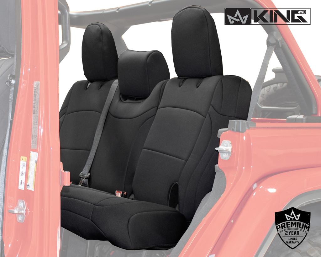 Neoprene Seat Covers, Black/Black - JL 4 Door 2018-2019 Jeep Wrangler Unlimited. Neoprene Seat Covers, Backseat View.