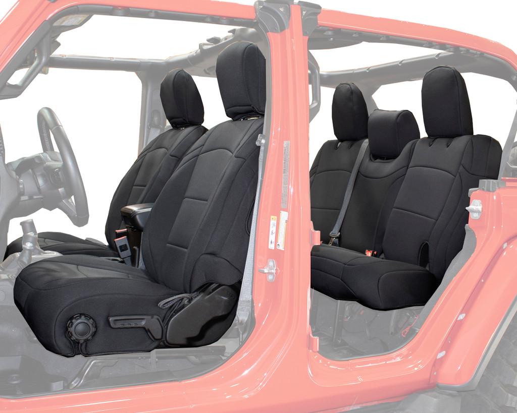 Neoprene Seat Covers, Black/Black - JL 4 Door 2018-2019 Jeep Wrangler Unlimited. Neoprene Seat Covers side view.