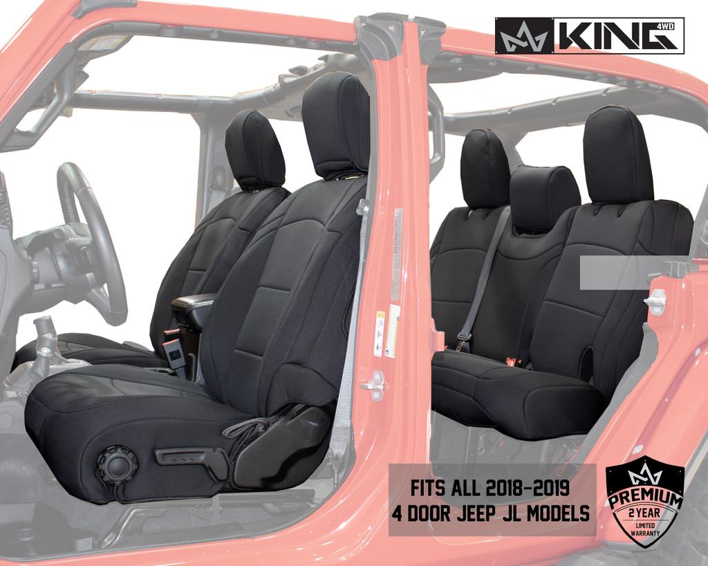 Neoprene Seat Covers, Black/Black - JL 4 Door 2018-2019 Jeep Wrangler Unlimited. Neoprene Seat cover full view, Fits all 2018-2019 4-Door Jeep JL Models.