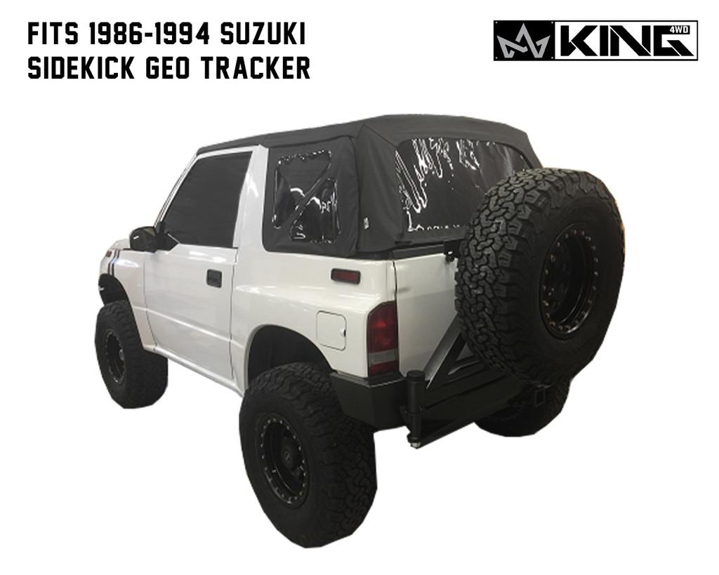 14011135 King 4WD Premium Replacement Soft Top, Black Diamond With Tinted Windows, 1986-1994 Suzuki Sidekick GEO Tracker