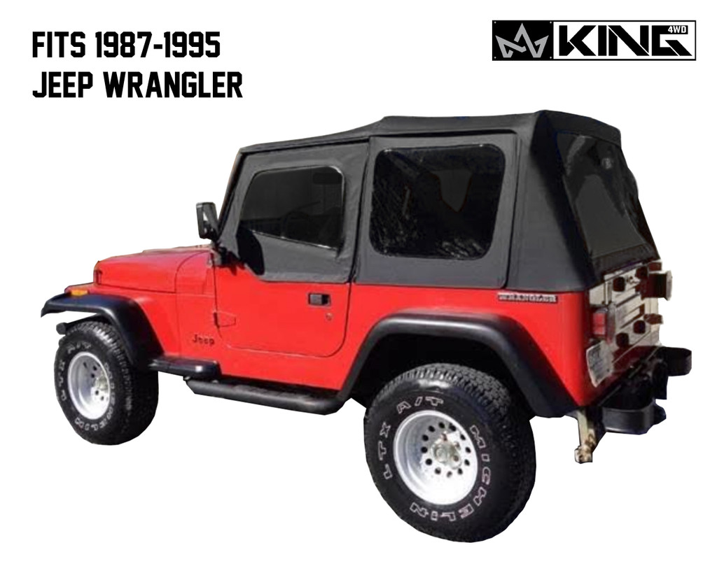 14011235 King 4WD Premium Replacement Soft Top, Black Diamond With Tinted Windows, Jeep YJ 1987-1995 Wrangler - Back Side View