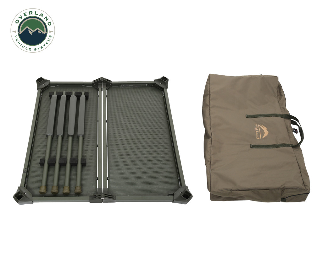 Wild Land Camping Gear - Table Size Large. Collapsed Table with Carrying Case.