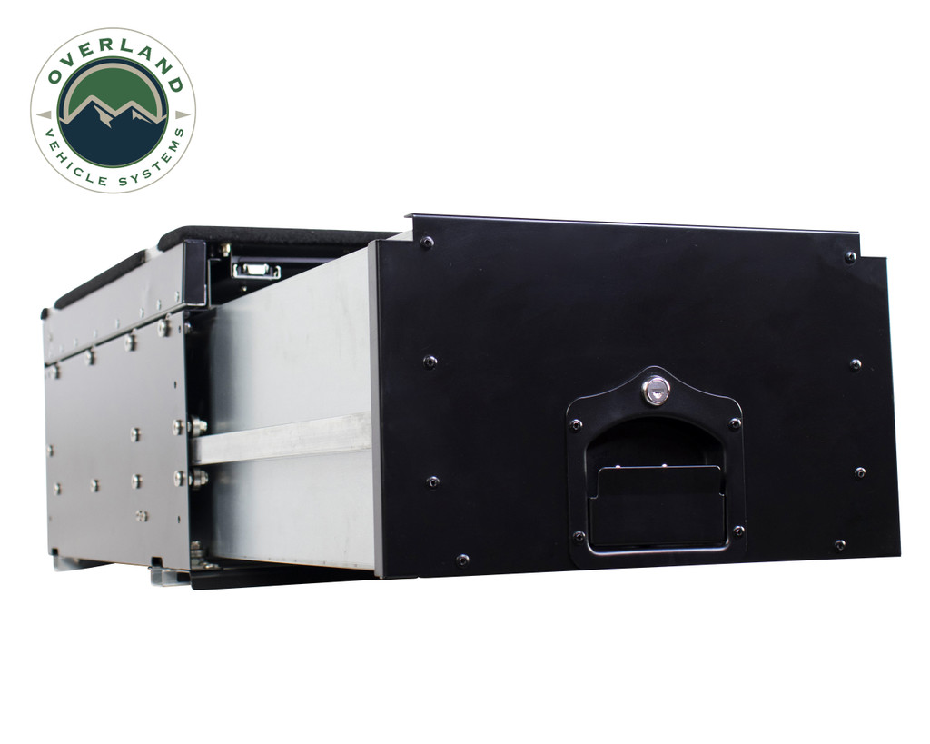 Cargo Box With Slide Out Drawer & Working Station - Extended Drawer Side view