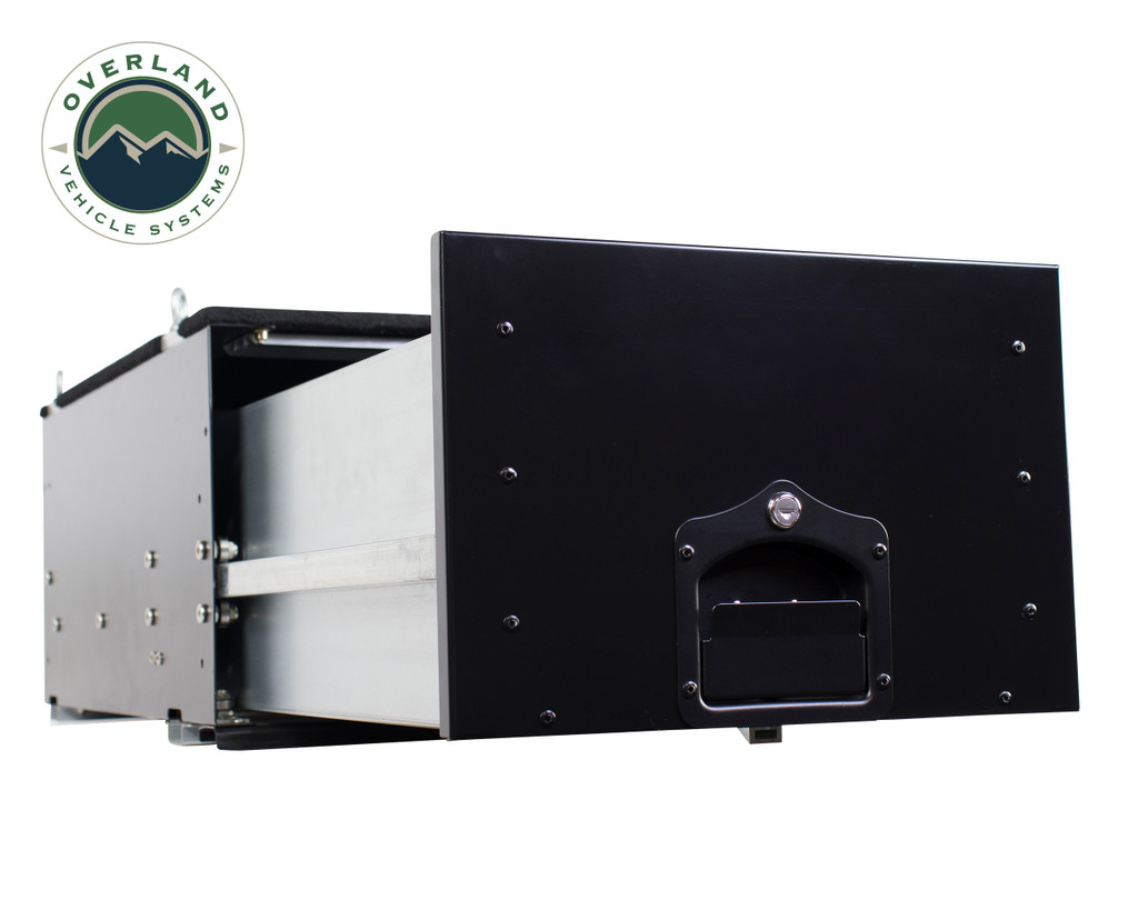 Cargo Box With Slide Out Drawer- Black Powder Coat. Extended Drawer view.