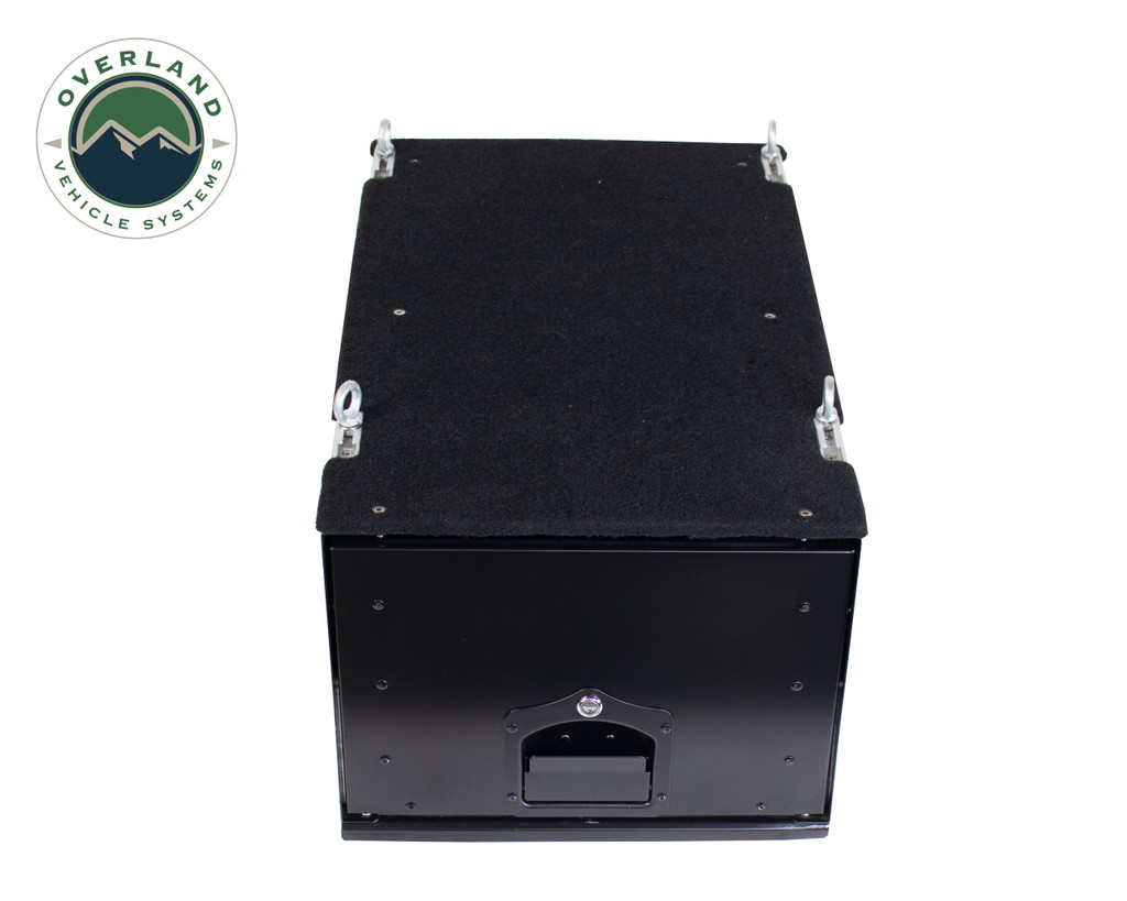 Cargo Box With Slide Out Drawer- Black Powder Coat . Top View