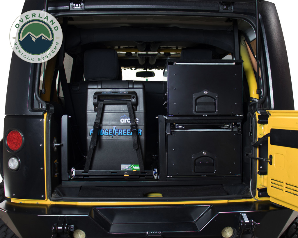 Cargo Box With Slide Out Drawer- Black Powder Coat. Double Cargo Box In Jeep