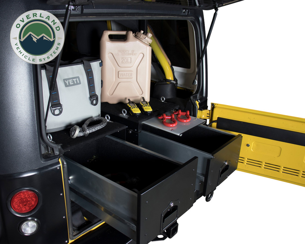 Cargo Box With Slide Out Drawer- Black Powder Coat. Double Cargo Box with Full Trunk inside Jeep.