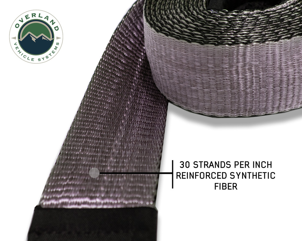 """Tow Strap 20,000 lb. 2"""" x 30' Gray With Black Ends & Storage Bag"""