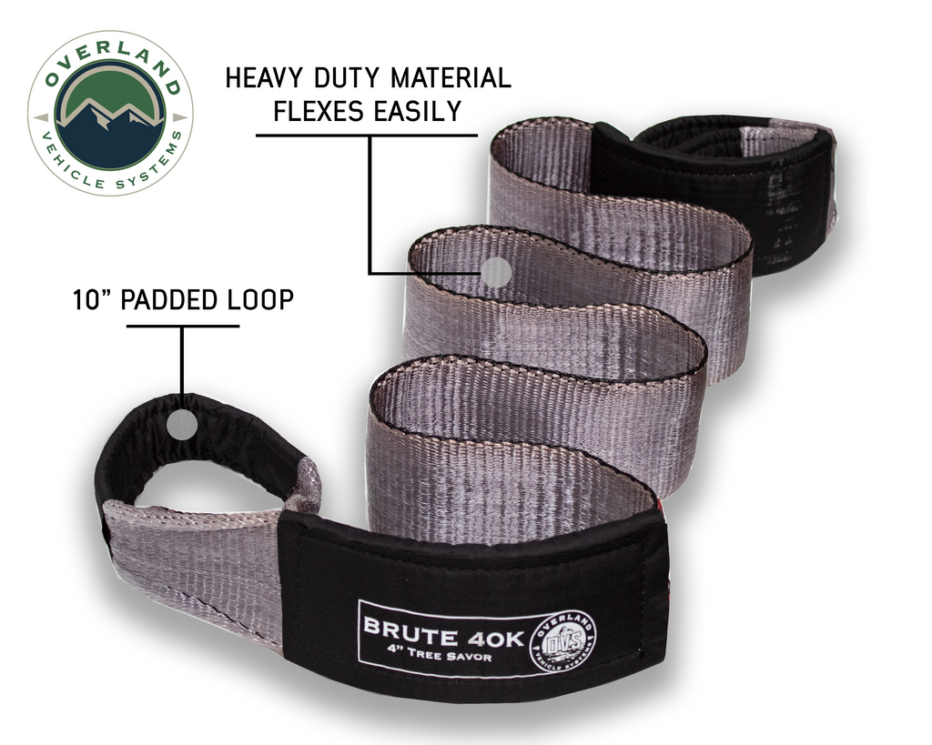 """Tow Strap 40,000 lb. 4"""" x 8' Gray With Black Ends & Storage Bag Universal"""
