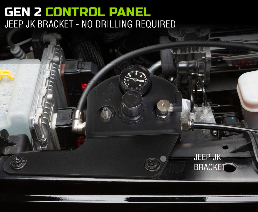 4 Tire Inflation System - Jeep Wrangler JK & JKU Engine Bay Mount Driver Side Front