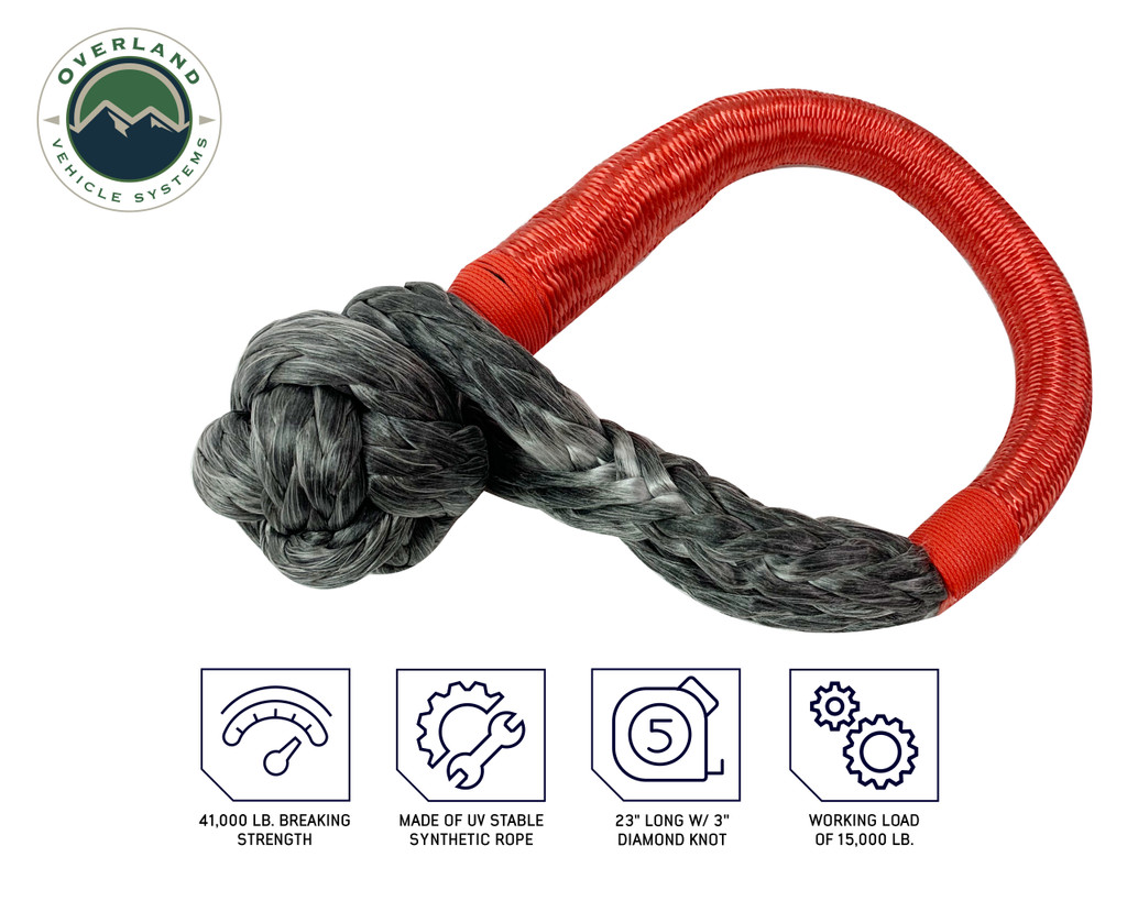 """Combo Pack Soft Shackle 5/8"""" 44,500 lb. and Recovery Ring 6.25"""" 45,000 lb. Black"""