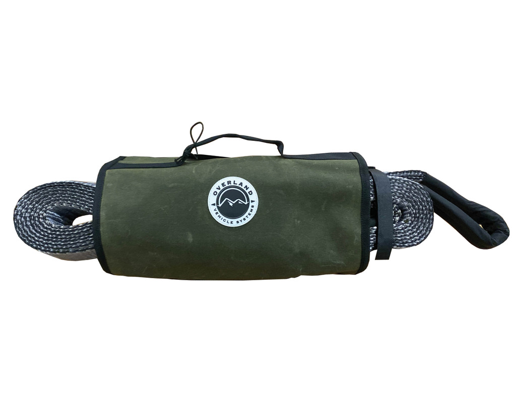 """Recovery Wrap Kit Including 20"""" Tow Strap, Pair of Black D-Rings, Snatch Block and Canvas Bag"""