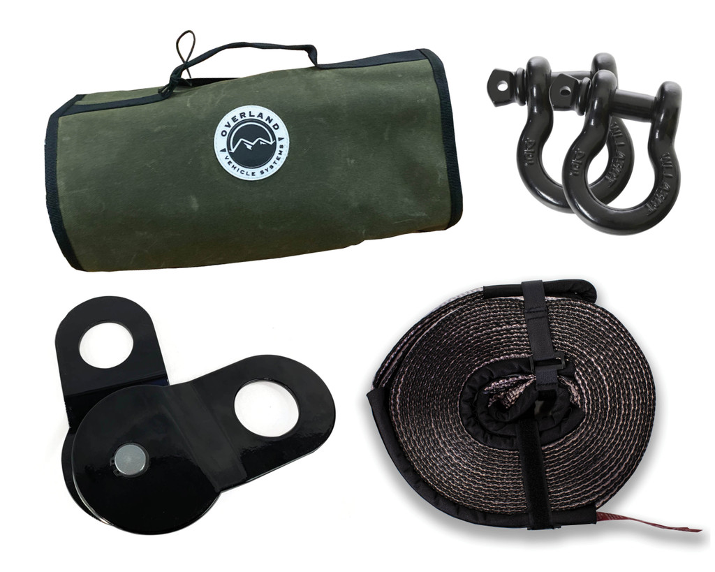 "Recovery Wrap Kit Including 20"" Tow Strap, Pair of Black D-Rings, Snatch Block and Canvas Bag"