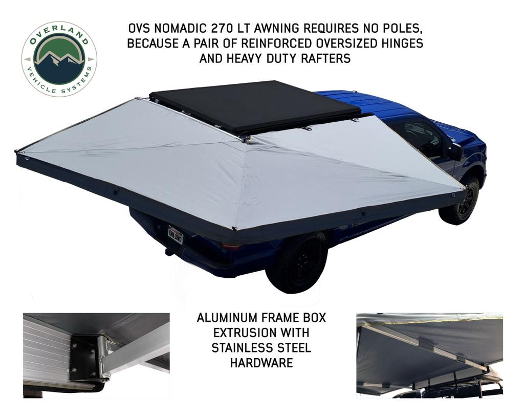 Nomadic 270 LT Awning - Passenger Side- No Poles needed for assembly. Aluminum Frame box, stainless steel hardware.