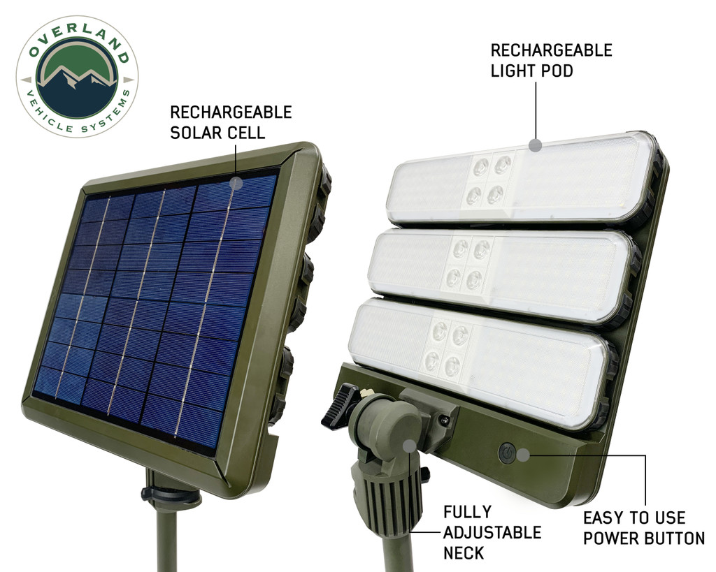 """Wild Land Camping Gear- 12"""" Rechargeable Solar Cell  and Removable LED Light pod"""
