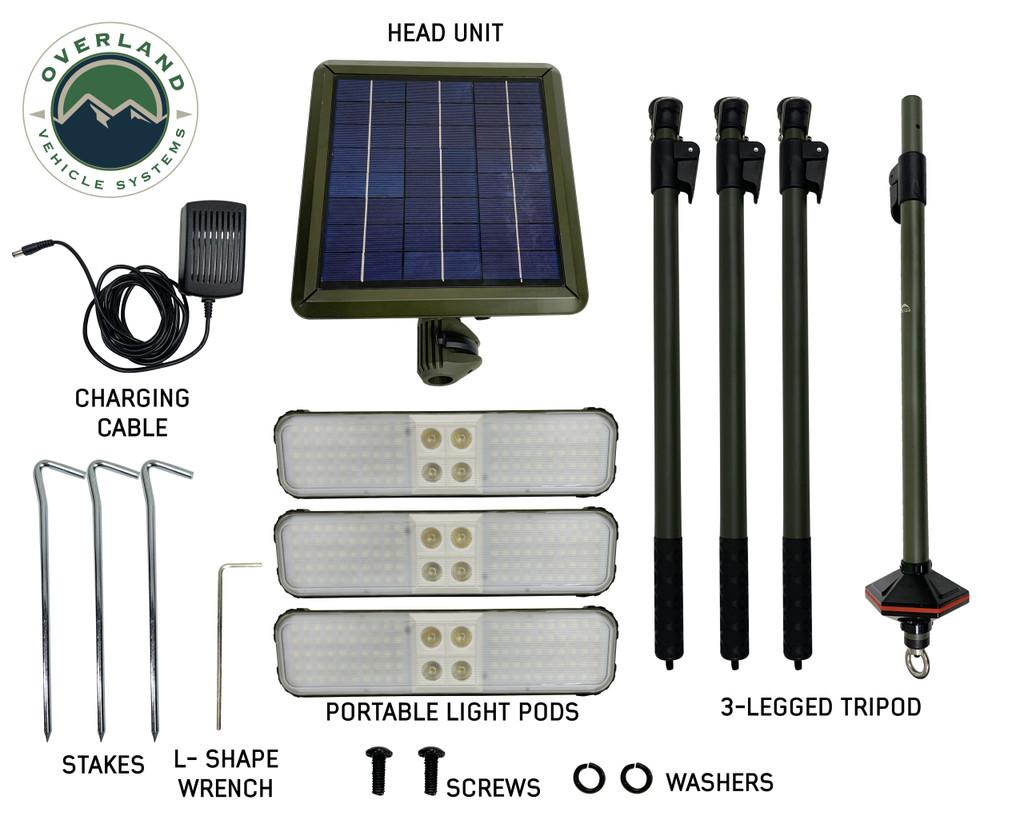 Wild Land Camping Gear - ENCOUNTER Solar Light Light Pods . All parts overview. Lights, Poles, Setup.