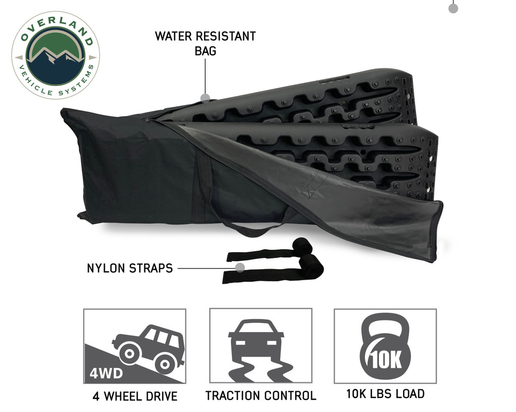 Combo Pack Recovery Ramp & Utility Shovel-  Water resistant bag and ramp specifics.
