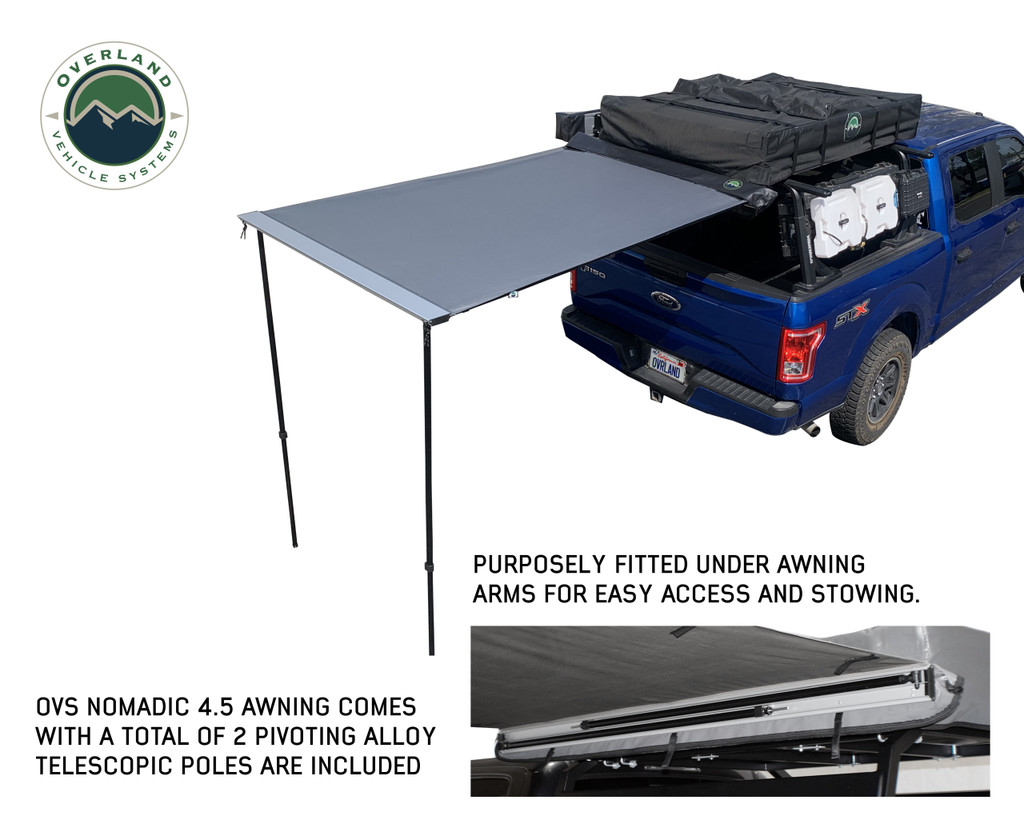 Nomadic Awning 1.3 - 4.5' With Black Cover- The 4.5 awning fully opened with  the poles fully exposed.
