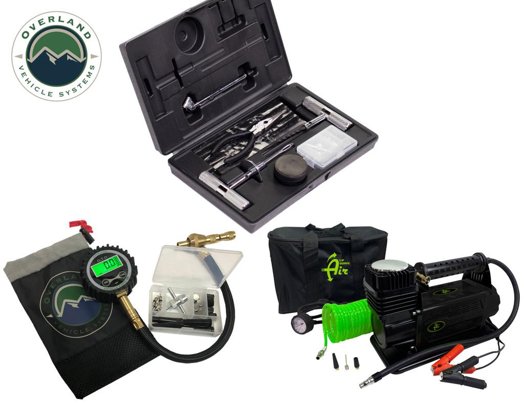 Air Compressor System 5.6 CFM, Digital Tire Deflator and 53 Piece Tire Repair Kit -  Combo Kit
