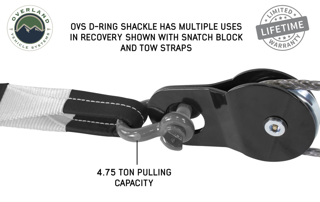 """Recovery Shackle 3/4"""" 4.75 Ton - Gray - Sold In Pairs"""
