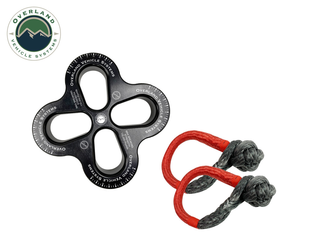 """R.D.L. 8"""" Recovery Distribution Link 45,000 lb. Black and (2) 5/8"""" Soft Shackles"""