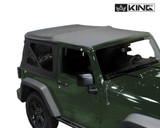 14010335 King 4WD Premium Replacement Soft Top, Black Diamond With Tinted Windows, Jeep Wrangler JK 2 Door 2007-2009